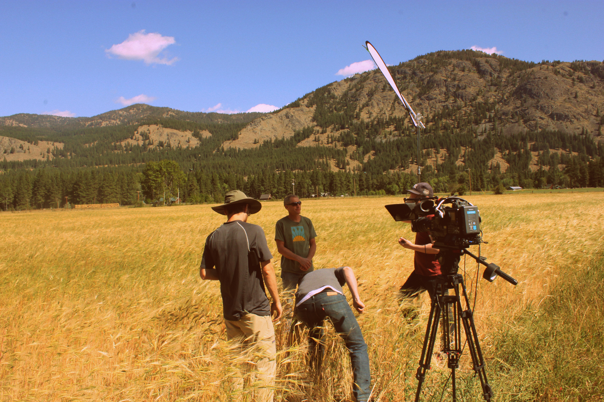 The Deconstructing Dinner television series crew prepares for an interview with Sam Lucy of Bluebird Grain Farms in Winthrop, Washington. Bluebird was featured as part of the Wheat episode for the Deconstructing Dinner television series.