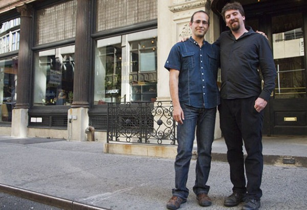 Jon Steinman (left) and Declan O'Driscoll in front of the Gramercy Tavern in NYC - home to chef Michael Anthony who is featured in the Garlic episode of the Deconstructing Dinner television series on ichannel.