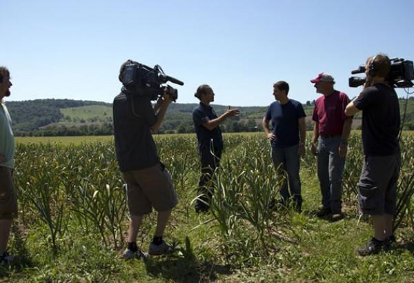 Host Jon Steinman interviews chef Michael Anthony (Gramercy Tavern) and farmer Jim Wrobel in Bridgewater, New York..